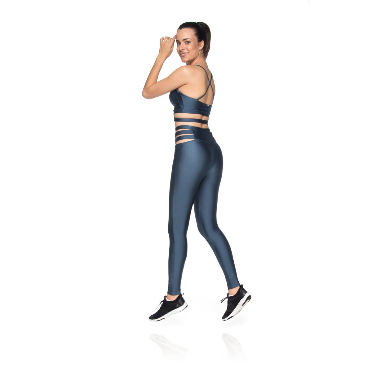 Petróleo Skin Fitness Top Strip Top Azul Fitness Bxq01YwC