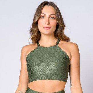 Top frente única poliamida textura verde militar feminino Água e Luz