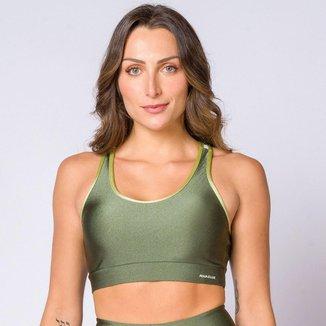 Top nadador poliamida verde militar com recortes feminino Água e Luz