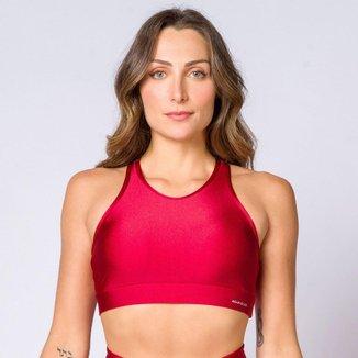 Top nadador poliamida vermelho com tela feminino Água e Luz
