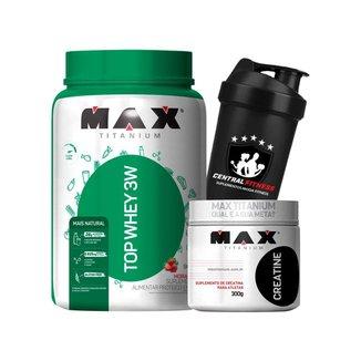 Top Protein Whey 3w 900g + Creatina 300g + Coqueteleira - Max Titanium