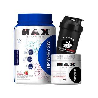 Top Protein Whey 3w Morango 900g + Creatina 300g + Coqueteleira - Max Titanium