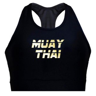 Top Spartanus Fightwear de compressão Muay Thai Gold  Feminino