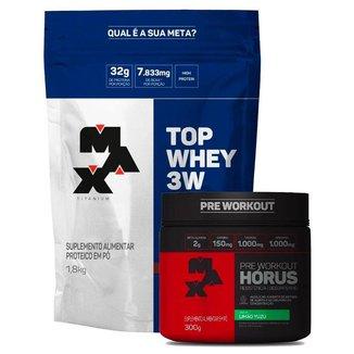 Top Whey 3W 1,8kg - (Baunilha) + Horus 300g - Max Titanium