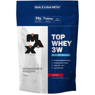 Top Whey 3W 1,8kg Max Titanium - Compre e Ganhe Creatina Optimum Nutrition 150g - Baunilha