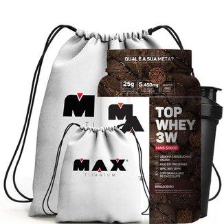 Top Whey 3W 900G + Coqueteleira 700Ml + Mochila - Max Titanium (Brigadeiro)