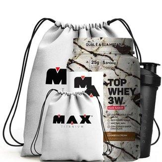 Top Whey 3W 900G + Coqueteleira 700Ml + Mochila - Max Titanium (Cookies And Cream)