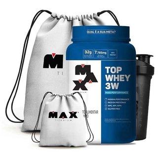 Top Whey 3W 900G + Coqueteleira 700Ml + Mochila - Max Titanium (Morango)