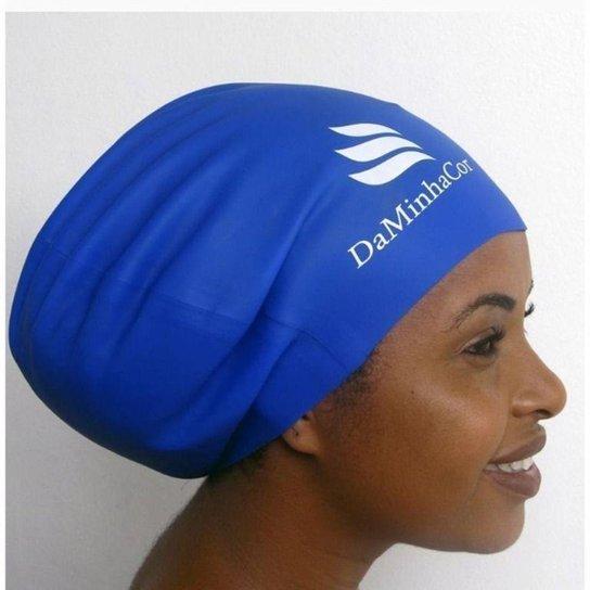 Touca Afro De Natação E Banho Cabelo Volumoso Daminhacor - Azul