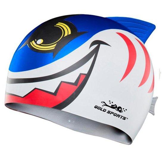 Touca De Natação Gold Sports Kids New Shark De Silicone - Azul Royal