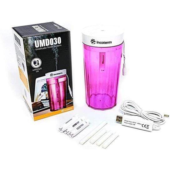 Umidificador portátil de mesa Pink UMD030 Incoterm -