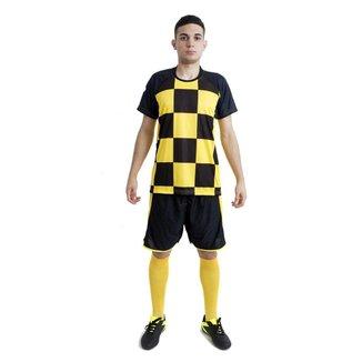Uniforme de Futebol modelo PSV 14+1 (Am/Pto + Pto/Am + Am + Gol)