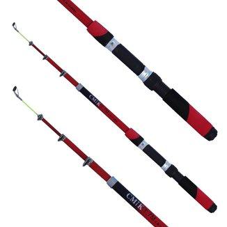 Vara de Pesca 1,70m Telescópica Para Molinete CMiK Com Proteção e Passadores Resistentes