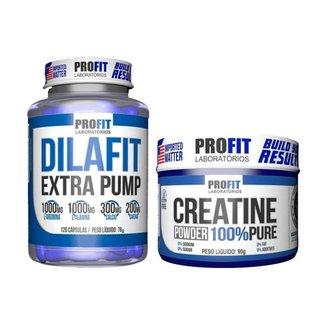 Vasodilatador Dilafit Extra Pump + Creatina 90g Profit Labs