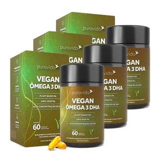 Vegan Ômega 3 DHA 3 unidades de 60 Cápsulas Puravida