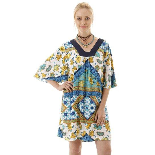 Vestido AHA Ampla Recorte na Pala Lisa Feminina - Azul+amarelo