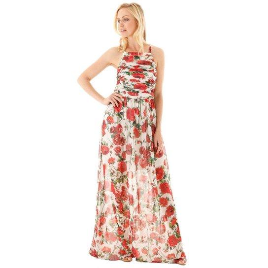 Vestido AHA Floral Franzido e Alças Finas Feminina - Off white+Rosa
