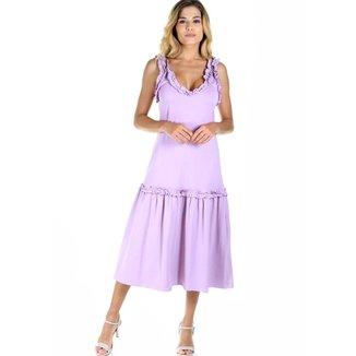 Vestido AHA midi malha liso com barra flare Feminino