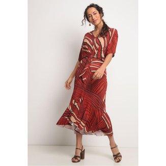 Vestido amarração cintura estampa traços vermelho