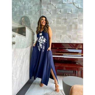 Vestido Azul Marinho Regata Longo - O Leão de Judá - Único