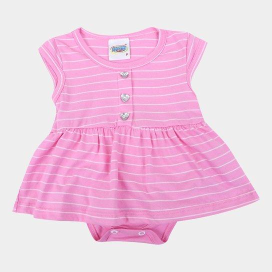 Vestido Bebê Duzizo Listrado Com Body Embutido Feminino - Rosa