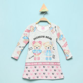 Vestido Bebê For Girl Matelassê Sublimado Com Strass
