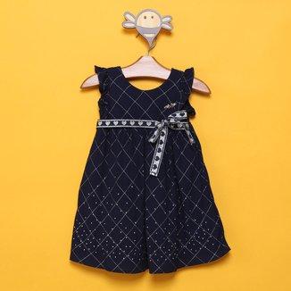 Vestido Bebê Milon Tricoline c/ Lurex e Laço