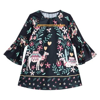Vestido Bebê Nanai Cetim Manga Longa Floral