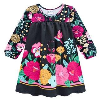 Vestido Bebê Nanai Manga Longa Floral