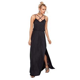 Vestido Belush Feminino Longo Liso Fenda Lateral Leve Casual