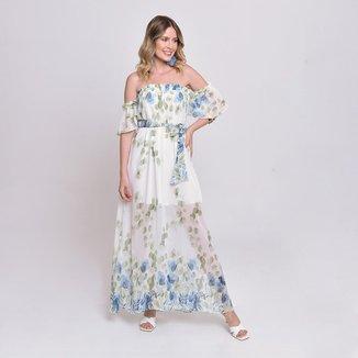 Vestido Bisô Ciganinha Longo Floral Branco/Azul