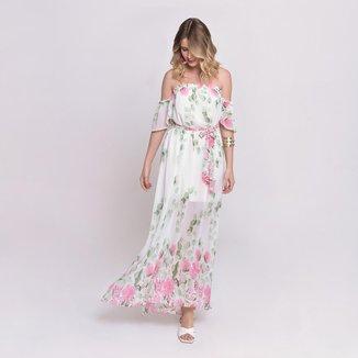 Vestido Bisô Ciganinha Longo Floral Branco/Rosa