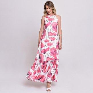 Vestido Bisô Longo Estampado Rosas