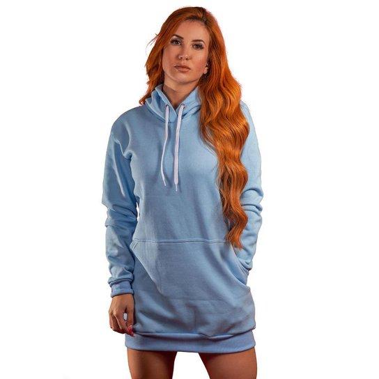 Vestido Blusão Moletom Liso Tubinho Capuz E Bolso 004 - Azul