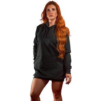 Vestido Blusão Moletom Liso Tubinho Capuz E Bolso R 001