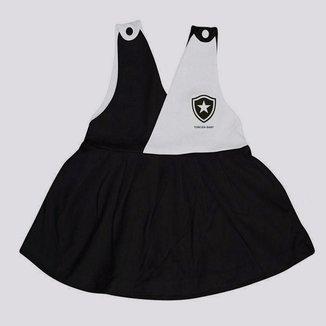 Vestido Botafogo Basic Infantil Feminino Preto e Branco