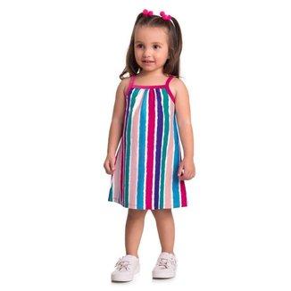 Vestido Brandili Malha Estampa Listras Infantil