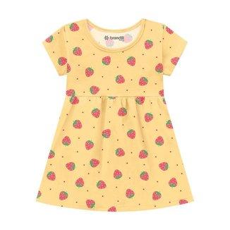 Vestido Brandili Malha Morangos Bebê