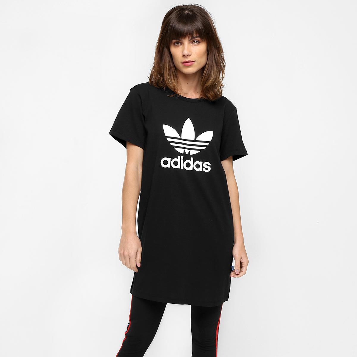 Vestido Camiseta Adidas Curto Originals Trefoiltee Preto