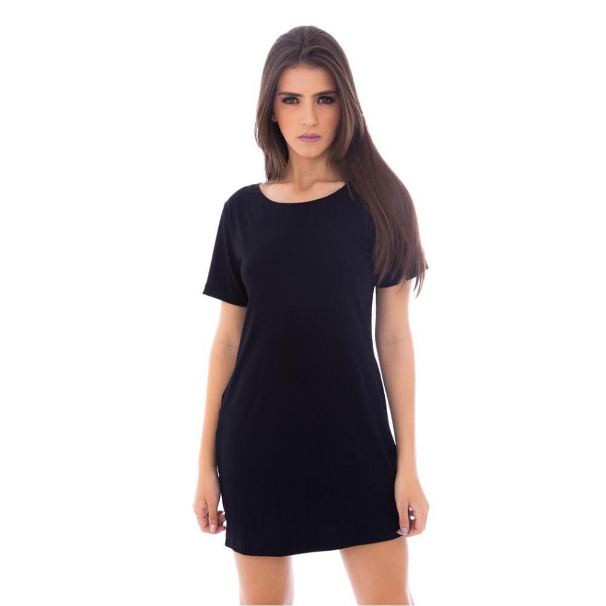 Vestido Camiseta Moda Vicio Feminino Preto