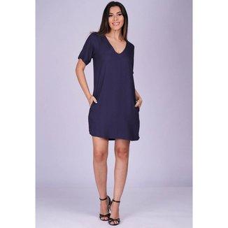 Vestido Chemise Curto Viscose com Bolso Azul Marinho - GG - Veste do 46 ao 48