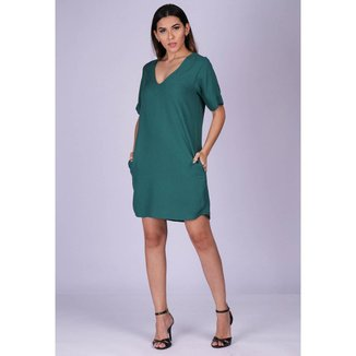 Vestido Chemise Curto Viscose com Bolso Verde Kentucky - GG - Veste do 46 ao 48