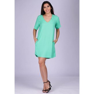 Vestido Chemise Curto Viscose com Bolso Verde Menta - GG - Veste do 46 ao 48