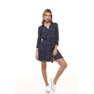 Vestido Chemise Estampa Quadradinhos Vesi80828 Azul marinho