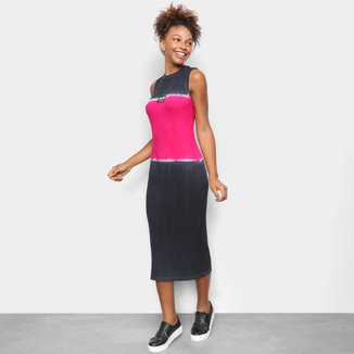 Vestido Colcci Midi Tubinho Tie Dye Colorblock