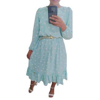 Vestido com babado e manga longa em Viscose