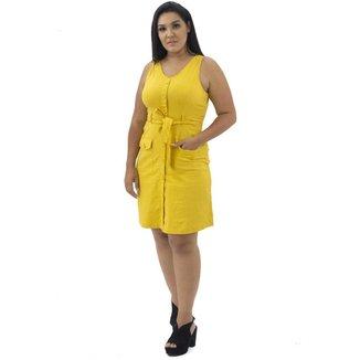 Vestido Com Bolso Detalhes de Botões Amarelo