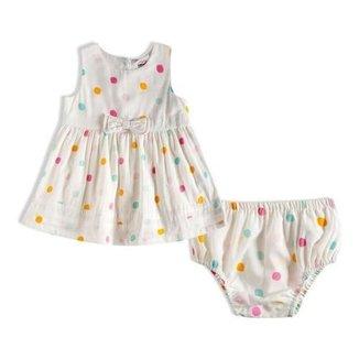 Vestido Com Calcinha Poá Colorido Bebê - Tiptop - 13200333