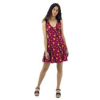 Vestido com Detalhe em Renda Frontal Mosaico Rosa Escuro