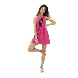Vestido Com Detalhe em Renda Frontal Rosa Mosaico